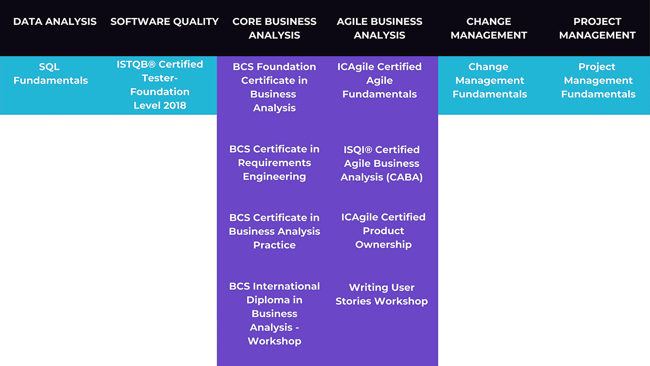 This image shows a visualisation of the learning pathways offered under Expleo Academy's T-shaped Business Analyst. It represents the variety of options available to meet your Agile Business Analyst training needs.