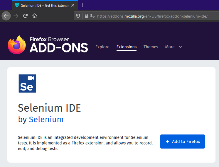 Selecting the Firefox IDE from the webpage